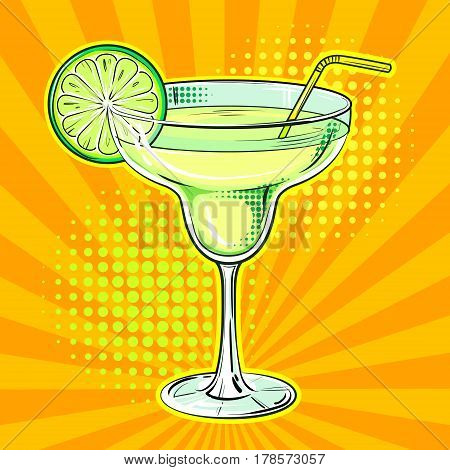 Liquor alcohol cocktail Margarita pop art hand drawn vector illustration.