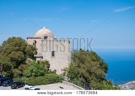 ERICE ITALY - SEPTEMBER 12 2015: The Church of St. John the Baptist in Erice province of Trapani in Sicily Italy