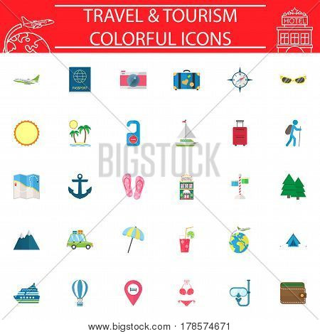 Travel flat pictograms package, Travel symbols collection, Web vector sketches, logo illustrations, transportation filled icon set isolated on white background, eps 10.