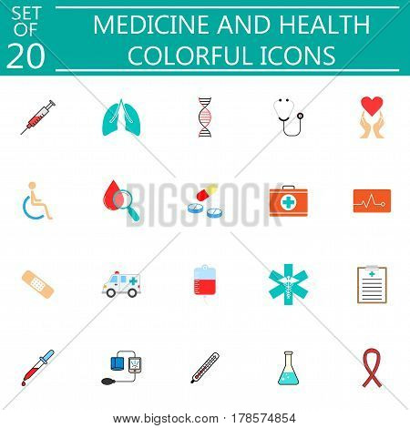 Medicine and health solid pictograms package, medical symbols collection, vector sketches, logo illustrations, colorful linear icons isolated on white background, eps 10.