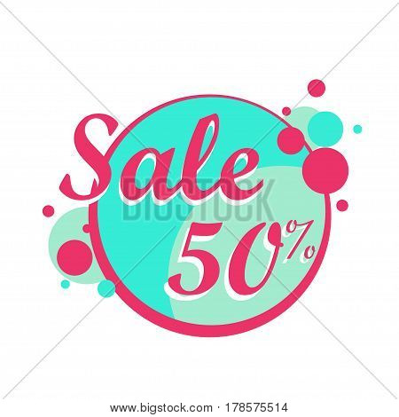 Sale icon in a circle poster or banner. Big sale, clearance. 50 off. Vector illustration.
