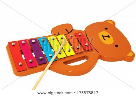 A toy xylophone isolated on white background.