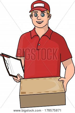 Courier in orange uniform with a parcel in hands.