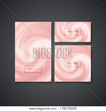 Business stationery set. Vector Illustration. Blending Whirlpool of Creamy Substance. Diffusion texture. Decorative Element for Cosmetics Design