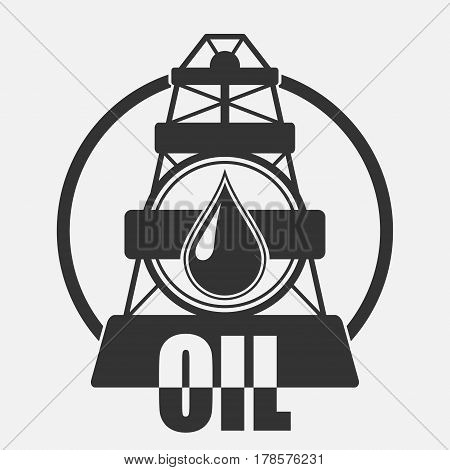 Oil Company Logo. Vector drilling rig icon over grey background