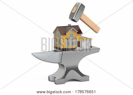 Anvil with House 3D rendering isolated on white background