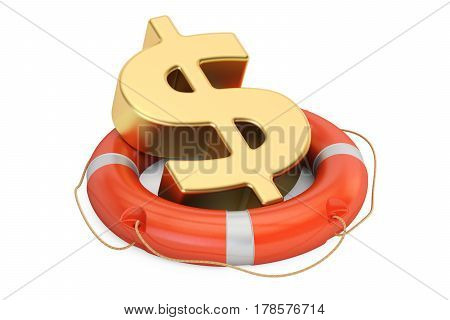 Lifebuoy with golden dollar symbol 3D rendering isolated on white background