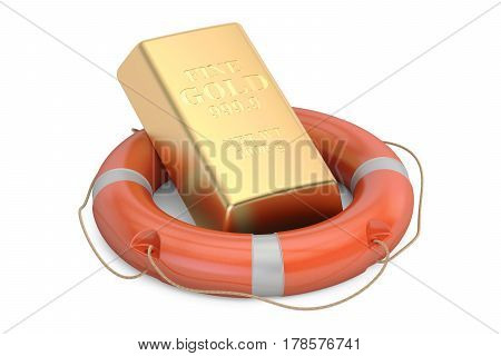 Lifebuoy with golden ingot 3D rendering isolated on white background
