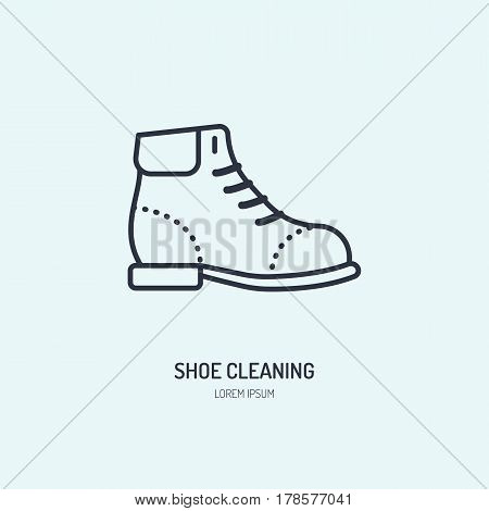 Shoes repair line icon, shoe shine logo. Leather boots cleaning service flat sign, illustration for footwear shop.