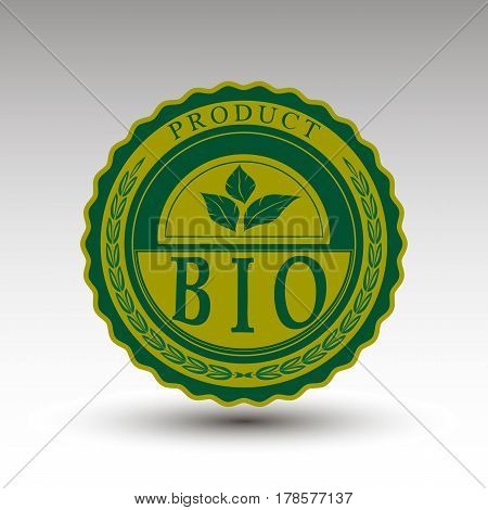 The vector emblem with bio text for you project
