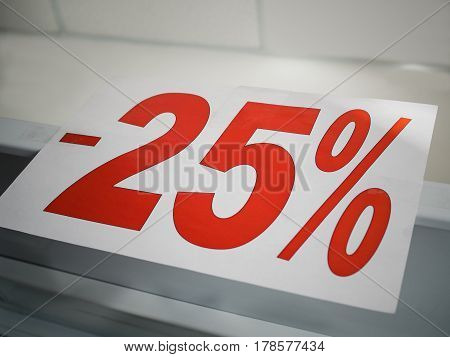 Sticker on the counter -25% discount on goods