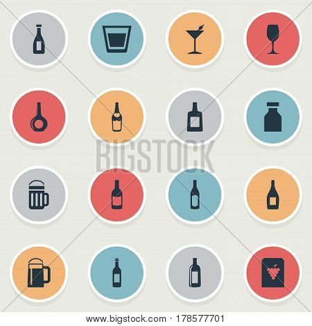 Vector Illustration Set Of Simple Beverage Icons. Elements Ketchup, Cognac, Beer And Other Synonyms Wine, Party And Brandy.