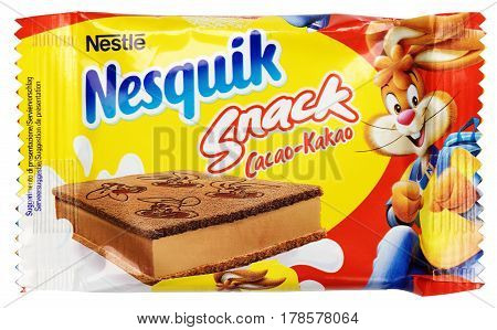 MOSCOW RUSSIA - MARCH 26 2017: Top view of Nestle Nesquik Snack Cacao isolated on white background with clipping path.