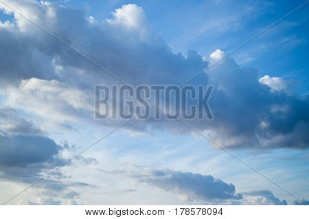 Beautiful light cumulus clouds in the blue sky. Niñe background for your collection.