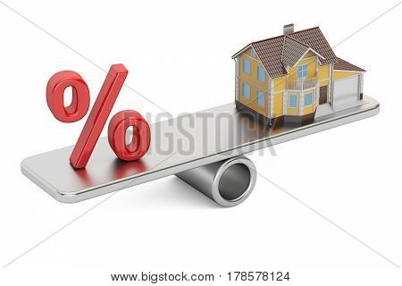 Mortgage and payment for house concept 3D rendering isolated on white background