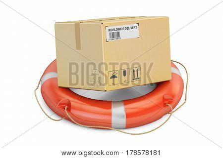 Safety delivery concept. Lifebuoy with cardboard box parcel. 3D rendering isolated on white background