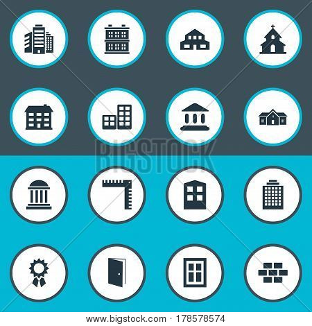 Vector Illustration Set Of Simple Architecture Icons. Elements Stone, Block, Superstructure And Other Synonyms Superstructure, Glazing And Shack.