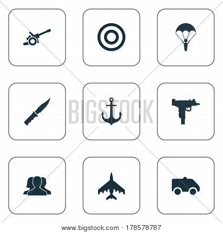 Vector Illustration Set Of Simple War Icons. Elements Firearm, Ship Hook, Emergency And Other Synonyms Anchor, Aim And Weapon.