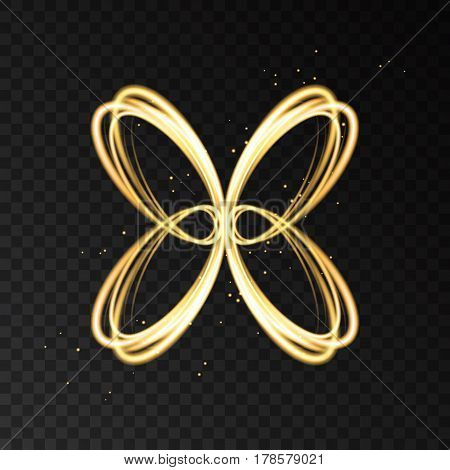 Light Effect With Golden Neon Abstract Butterfly Silhouette.