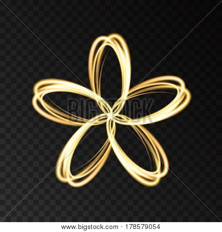 Gold Neon Abstract  Flower  Isolated On Black  Background.