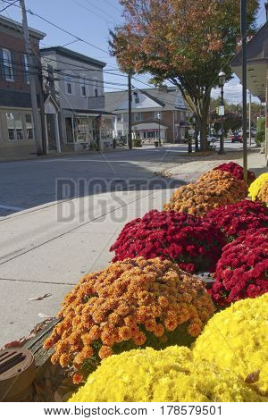 Malvern Pennsylvania USA: October 23 2016 - A quiet street in downtown Malvern a small laid back but fast growing town located 25 miles west of Philadelphia in Chester County Pennsylvania on a sunny autumn day