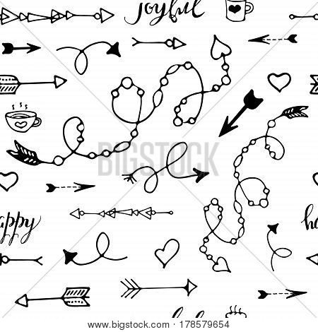 Tribal vintage black arrows on white background. Seamless vector graphic pattern. native american style. For web page, pattern fill, wallpaper, card, textile. Hand drawn. Sketch.Doodle.Modern.Fashion.