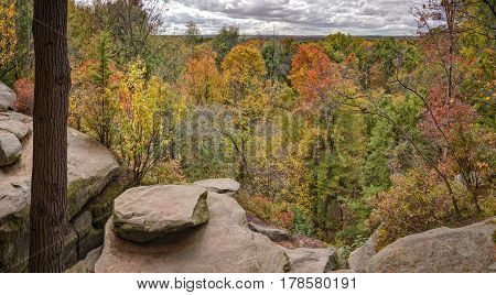 The autumn view from the ledges overlook Cuyahoga Valley National Park near Cleveland Ohio.