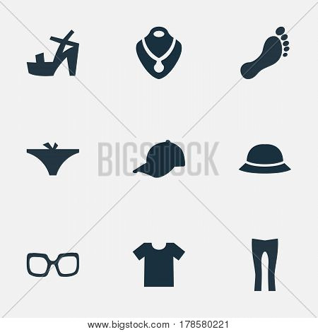 Vector Illustration Set Of Simple Dress Icons. Elements Jewelry, Hat, Sport Headwear And Other Synonyms Footwear, Necklace And T-Shirt.