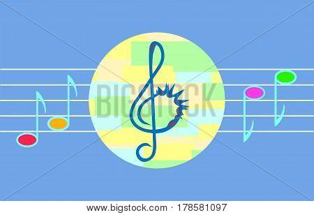 Vector music illustration for children. Isolated on blue background