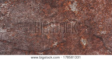 Brown and red background with concrete texture horizontal top view isolated vintage dark bronze backdrop old rustic stone board space blank back on the metal table mockup brick nuture wall