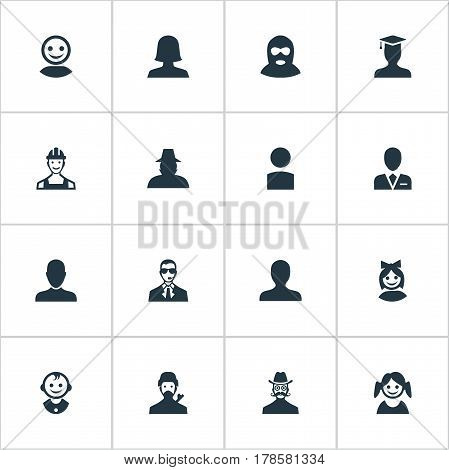 Vector Illustration Set Of Simple Human Icons. Elements Woman User, Young Shaver, Mysterious Man And Other Synonyms Profile, User And Felon.
