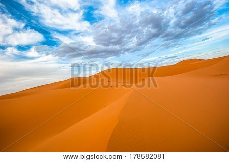 Highly detailed image of sand dunes of Erg Chebbi Morocco