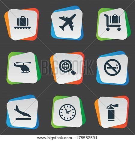 Vector Illustration Set Of Simple Transportation Icons. Elements Air Transport, Alighting Plane, Baggage Cart And Other Synonyms Extinguisher, Smoke And Cart.