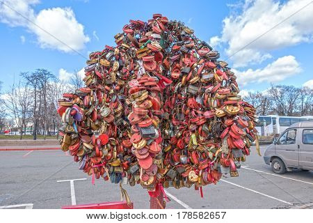 Moscow, Russia - March 23, 2017: Tree With The Locked Wedding Locks