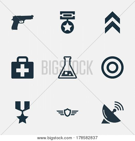 Vector Illustration Set Of Simple Army Icons. Elements Target, Pistol, Signal Receiver And Other Synonyms Military, Badge And Shield.