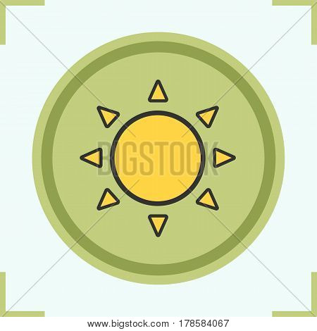 Sun color icon. Sunshine. Isolated vector illustration