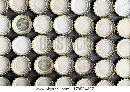 upturned caps of beer lined up in rows top view