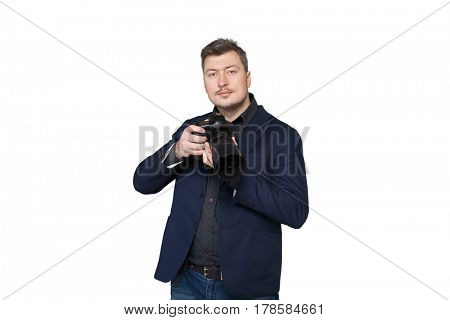 Portrait of cameraman with digital photo camera