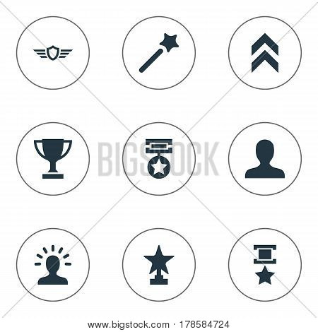 Vector Illustration Set Of Simple Champion Icons. Elements Prize, Growth Diagram, Triumphant And Other Synonyms Star, Triumphant And Magic.