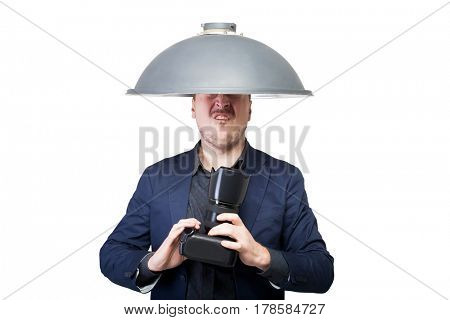 Professional photographer with lampshade on head