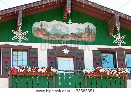 Country Store on Main Street Decorated for Christmas