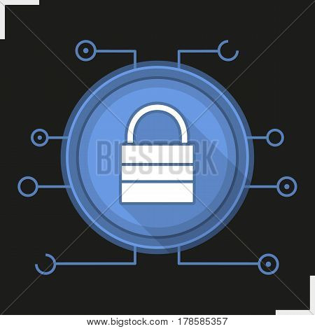 Lock flat design long shadow icon. Cyber security. Closed padlock in microchip pathways. Vector silhouette symbol