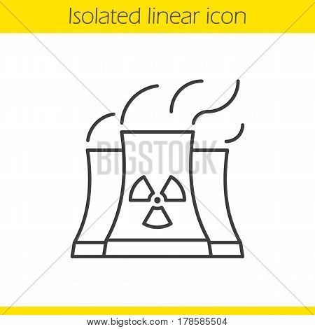 Nuclear power plant with smoke cloud. Linear icon. Thin line illustration. Radiation contour symbol. Vector isolated outline drawing