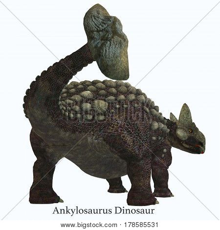 Ankylosaurus Dinosaur Tail with Font 3d illustration - Ankylosaurus was a herbivorous armored dinosaur that lived in North America in the Cretaceous Period.