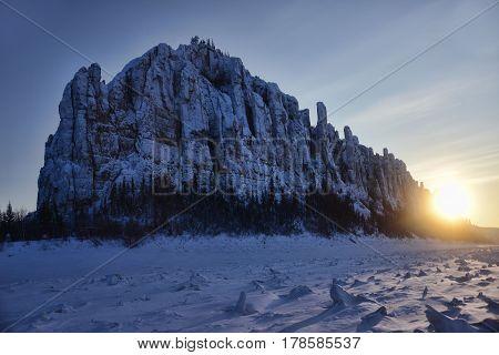 Winter sunset at Lena pillars national park