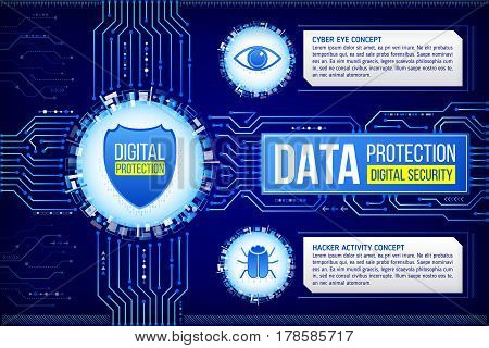 Digital technology concept of background with shield eye and hacker bug. Circuit board background. Hi-tech electronic wires. Abstract information security. Modern safety digital background.