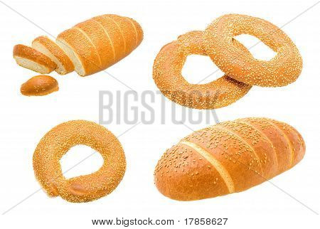 Gold Long loaf and bagels with sesam
