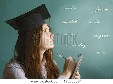 Student Linguist Girl Study English Language