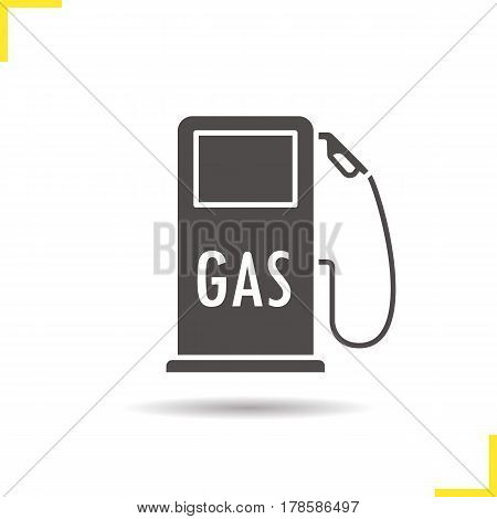 Gas station icon. Drop shadow silhouette symbol. Negative space. Vector isolated illustration