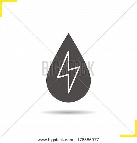 Water energy icon. Drop shadow silhouette symbol. Hydro power plant. Water drop with lightning inside. Negative space. Vector isolated illustration